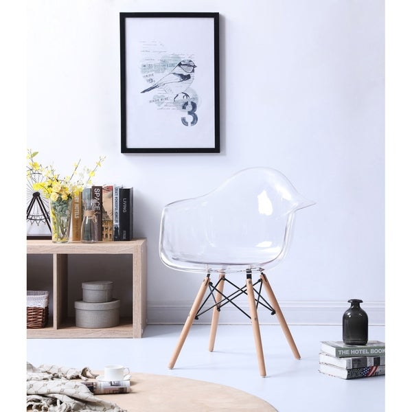 Hodedah Mid-Century Transparent Arm Dining Chair with Wooden Legs