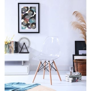 Hodedah Mid-Century Transparent Dining Chair with Wooden Legs