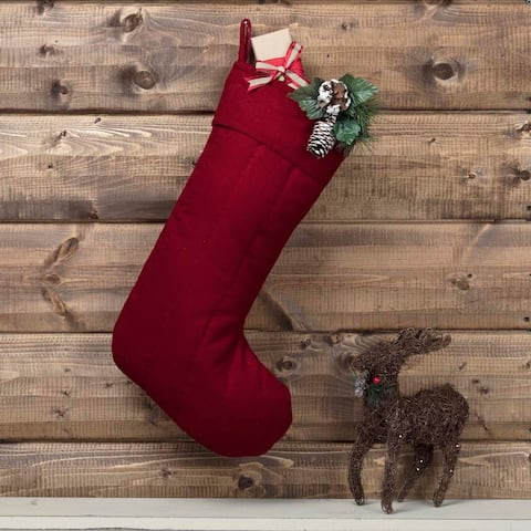 Farmhouse Christmas Holiday Decor VHC Felt Christmas Stocking Fabric Loop Felt Solid Color - 20x12