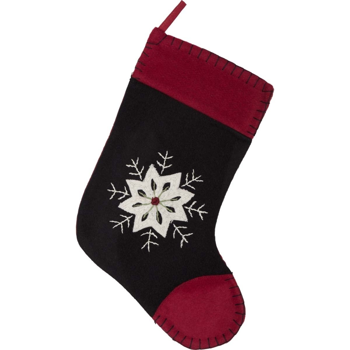 VHC Brands Christmas Snowflake Felt Embroidered Stocking,...