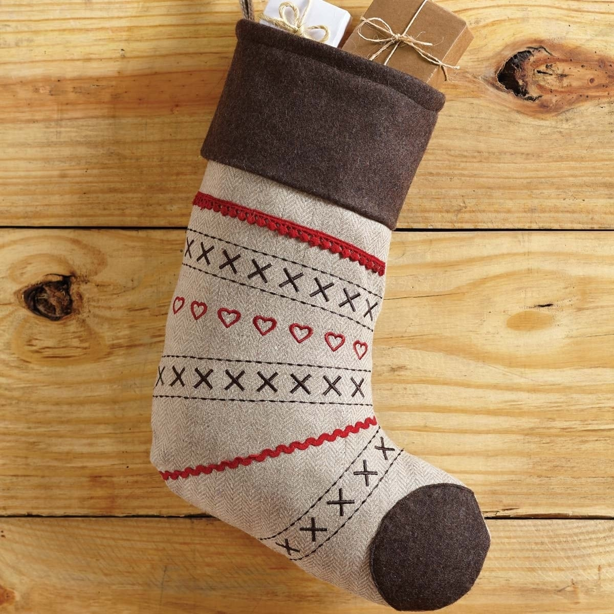 VHC Brands Merry Little Christmas Stocking, Brown (Wool)