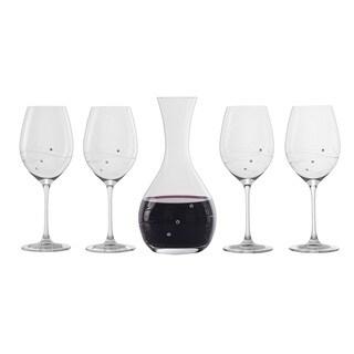 Barski Handmade Glass Barware Set 41oz. Carafe + Set of 4 16oz. Wine Glasses