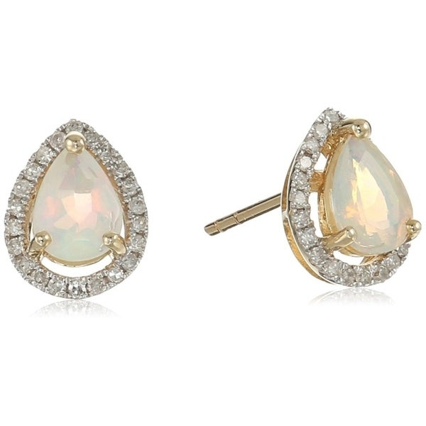e01599388 Shop Pinctore 10k Yellow Gold Ethiopian Opal, Diamond Pear Halo Stud  Earrings - White - On Sale - Free Shipping Today - Overstock - 17954777