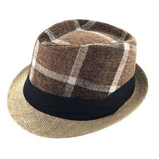 Faddism Unisex Plaid Ribbon Cuban Style Fedora Hat Model 203