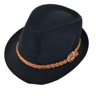 Faddism Kids Unisex Dressy Braided Belt Cuban Brim Fedora Hat Model 03