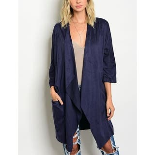 JED Women's Soft Vegan Suede Cardigan with Pockets|https://ak1.ostkcdn.com/images/products/17954815/P24132284.jpg?impolicy=medium