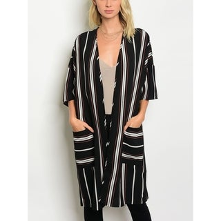 JED Women's 3/4 Sleeve Striped Cardigan with Pockets