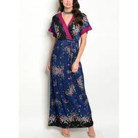 JED Women's Navy & Magenta Floral Print Long Dress
