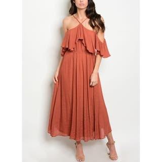 JED Women's Halter Off Shoulder Rust Midi Dress|https://ak1.ostkcdn.com/images/products/17954833/P24132300.jpg?impolicy=medium