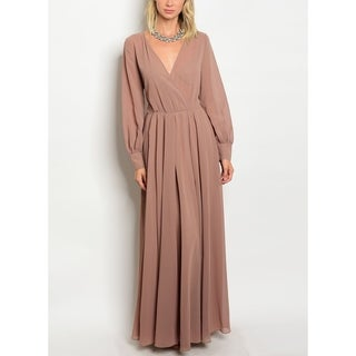 JED Women's Long Sleeve V-neck Chiffon Maxi Dress