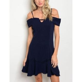 JED Women's Off-Shoulder Back Zip Mini Navy Party Dress
