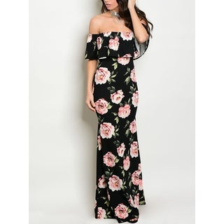 JED Women's Black Floral Print Off-Shoulder Form-Fitting Long Dress