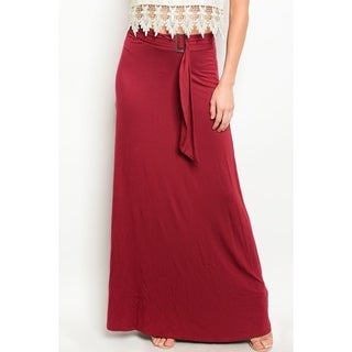 JED Women's Adjustable Buckle Waist Solid Maxi Skirt (Option: Red)