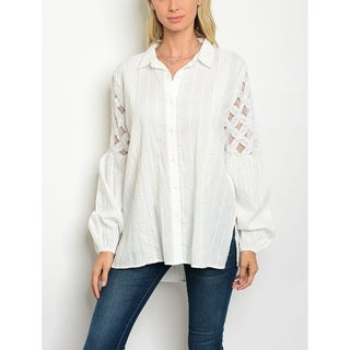 JED Women's Relax Fit Off-White Button Down Shirt
