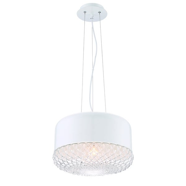 Eurofase Corson Modern Large Light Pendant, Polished White Metal Shade with Casted Weave Glass - 31869-027