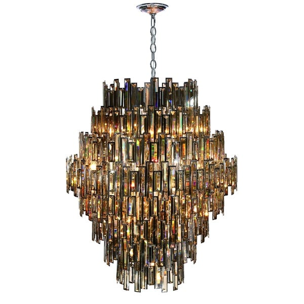 Eurofase Vienna Glittering Crystal 28-Light Chandelier, Framed Champagne Crystal and Chrome Finish - 31889-018