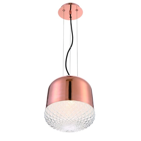 Eurofase Corson Modern Small Light Pendant, Polished Rose Gold Metal Shade with Casted Weave Glass - 31868-037