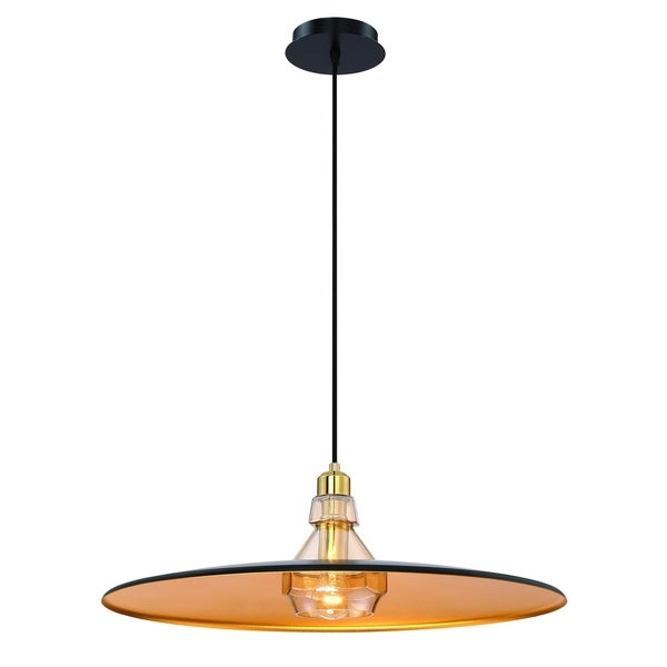 Eurofase Legend Polished Metal Large Light Pendant with Crystal Detail, Black with Gold Finishes - 31866-026