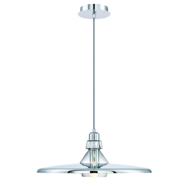 Eurofase Legend Polished Metal Small Light Pendant with Crystal Detail, Chrome with White Finishes- 31867-016