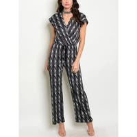 JED Women's Elastic Waist V-Neck Printed Wide Leg Jumpsuit