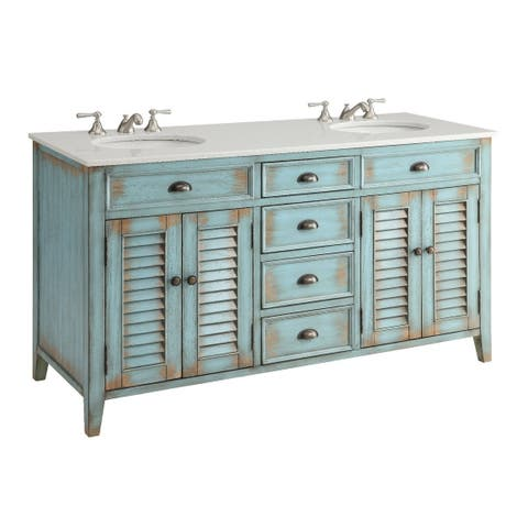 Modetti Palm Beach 60 Inch Double Sink Bathroom Vanity With Marble Top