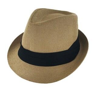 Faddism Unisex Ribbon Cuban Brim Fedora Straw Hat Model 207