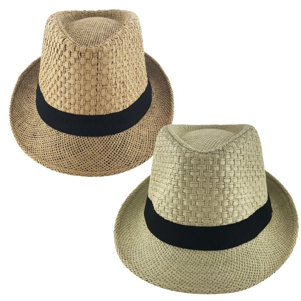 a12e677500f Shop Faddism Unisex Ribbon Cuban Brim Fedora Straw Hat Model 212 ...