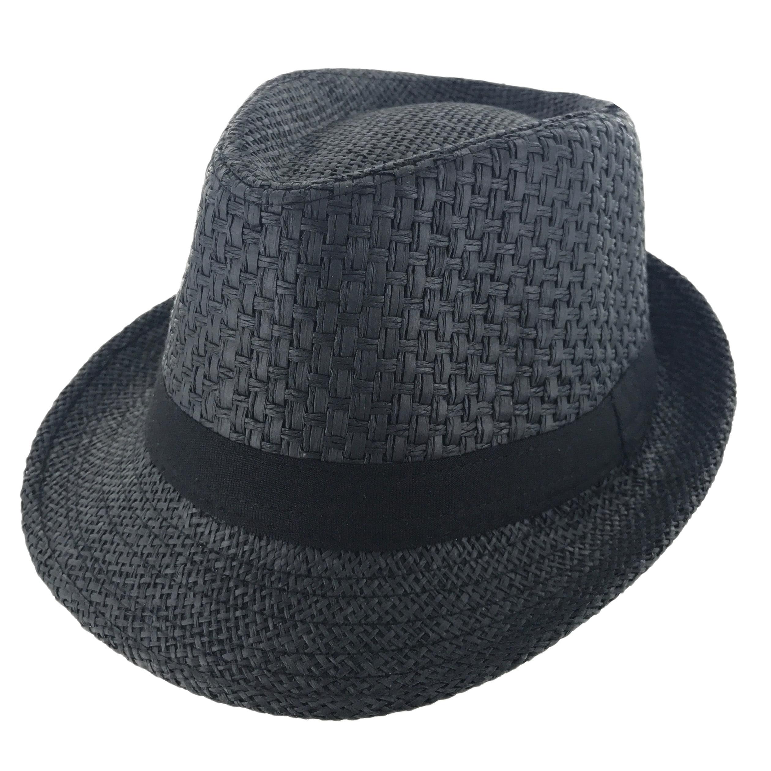 499f1fad6df Details about Faddism Unisex Ribbon Cuban Brim Fedora Straw Hat Model 214