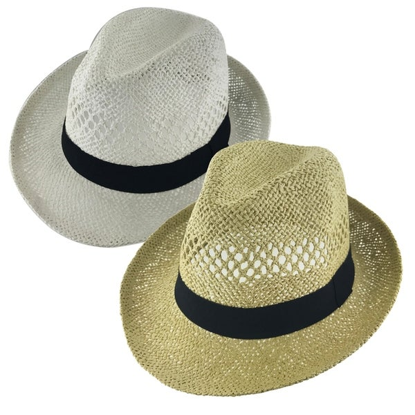 8f6c1062859 Shop Faddism Unisex Vented Ribbon Cuban Brim Fedora Straw Hat Model ...