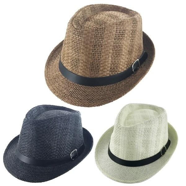 1e0ca588f6 Shop Faddism Unisex Belt Ribbon Cuban Brim Fedora Straw Hat Model ...