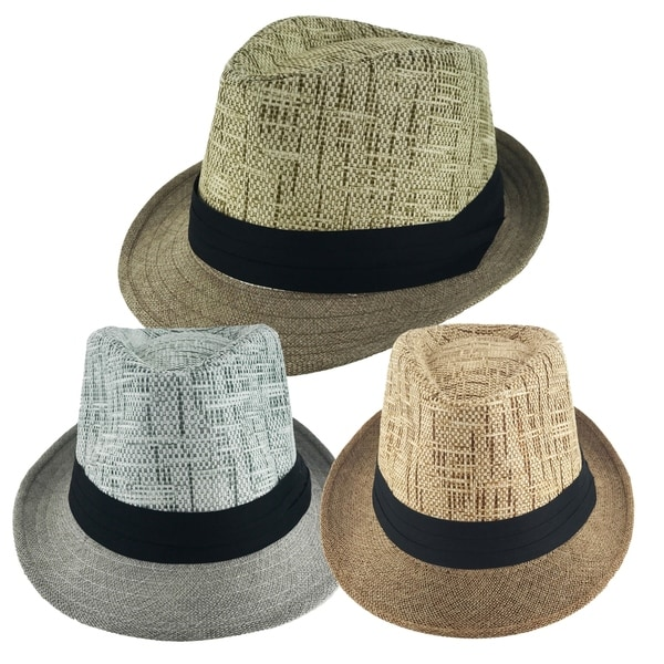 ba6b0f78424 Shop Faddism Unisex Ribbon 2 Tone Cuban Brim Fedora Straw Hat Model ...