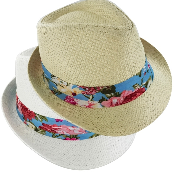 cf0c338ff14 Shop Faddism Paradise 194 Retro Fashion Straw Fedora Hat - Ships To ...