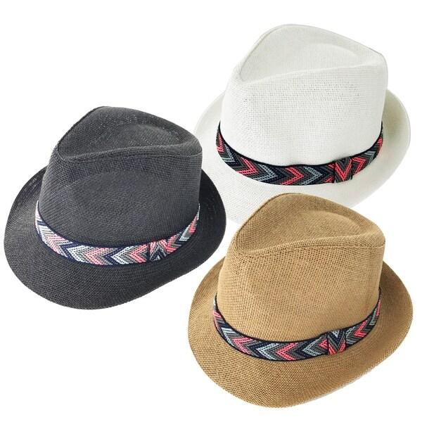 1a734d17b0d Faddism Arrow 187 Fashion Straw Fedora Hat - Free Shipping On Orders ...