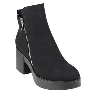 Beston Women's Side Zipper Platform Ankle High Top Booties Run Large (More options available)