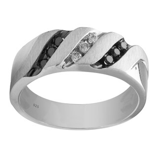 Sterling Silver 1/4cttw Men's Black and White Wedding Band