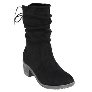 Beston FM31 Women's Back Lace Side Zipper Mid-calf Slouchy Boots