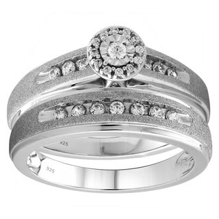 Sterling Silver 1/3cttw Diamond Engagement and Wedding Ring Set - White