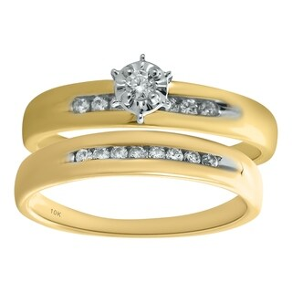 10K Yellow Gold 1/5cttw Diamond Engagement and Wedding Ring Set - White I-J