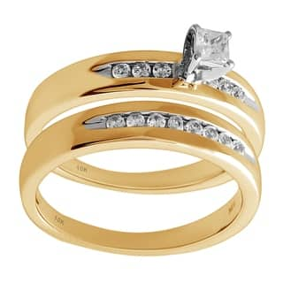 10K Yellow and White Gold 1/3cttw Diamond Engagement and Wedding Ring - White I-J|https://ak1.ostkcdn.com/images/products/17956638/P24133867.jpg?impolicy=medium
