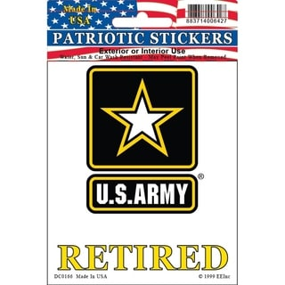 United States Army Star Logo Retired Car Decal 3-1/2 by 4 Inches