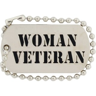 Woman Veteran Dog Tag Pin Keychain 1-1/4 Inches