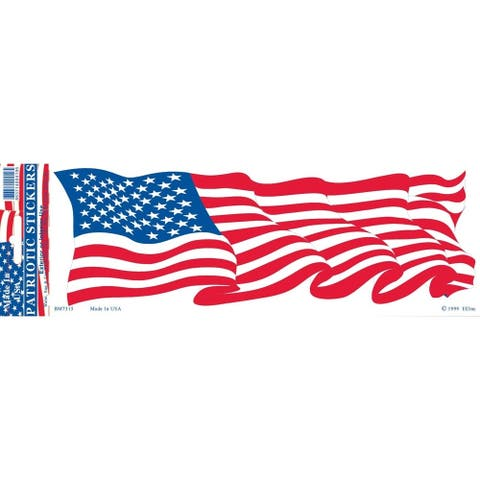 USA Wavy Flag Patriotic Bumper Sticker 3-1/4 by 9-1/2 Inches