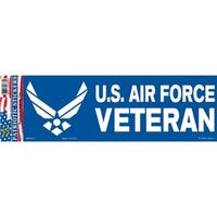 US Air Force Veteran Logo Bumper Sticker 3-1/4 by 9-1/2 Inches