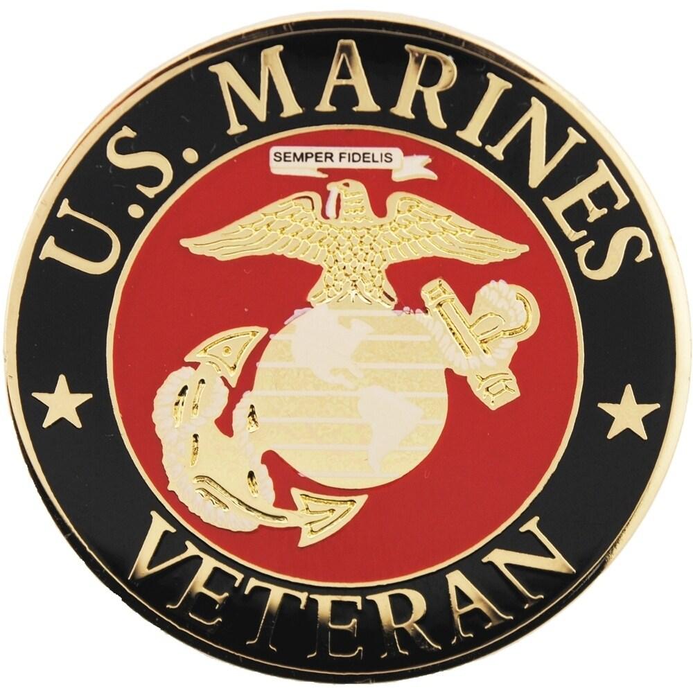 US Marine Corps Veteran Logo Pin 1-1/2 Inches, Red (Metal)