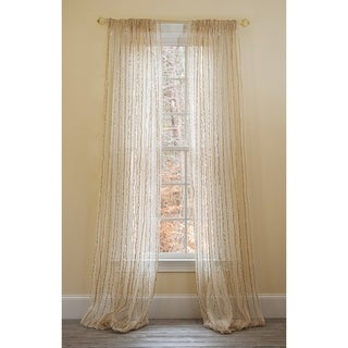Manor Luxe Tafetta Stripe Sheer Rod Pocket Window Curtain, 52 by 108-Inch, Beige, Single Panel