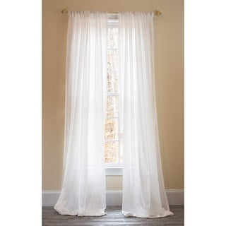 Manor Luxe Sandy Beach Sheer With Stripes Accent Rod Pocket Window Curtain, 52 by 108-Inch, White, Single Panel