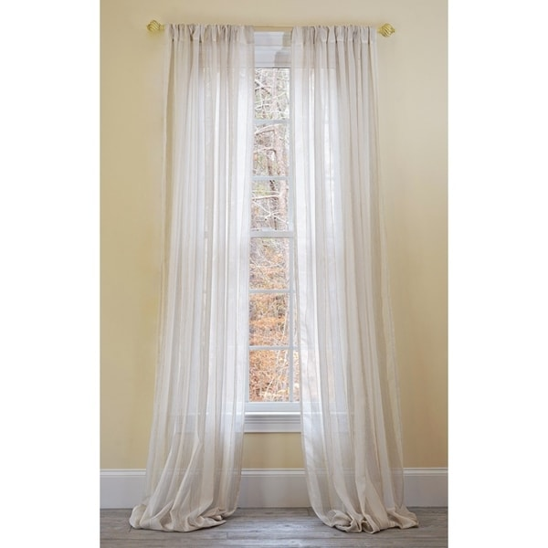 Manor Luxe Mannheim Linen Look Sheer 96 Inch Rod Pocket Curtain Panel