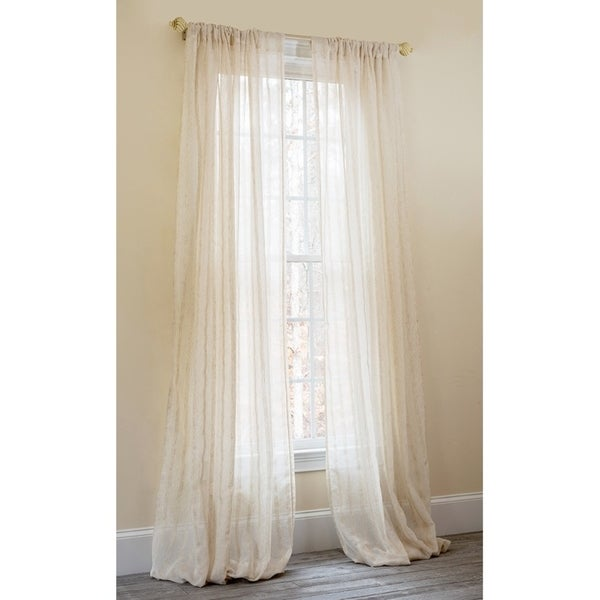 Manor Luxe Luxembourg Linen Look Sheer 108 Inch Rod Pocket Curtain Panel