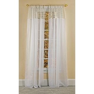 Manor Luxe Juliette Crochet Tab Top Sheer Window Panel, 52 by 84-Inch, White
