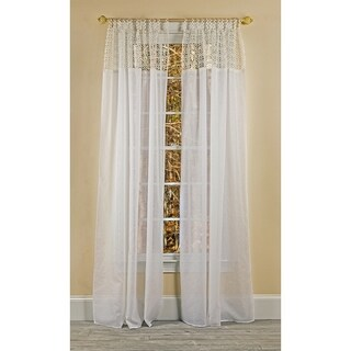 Manor Luxe Juliette Crochet Sheer White 84 Inch Tab Top Curtain Panel